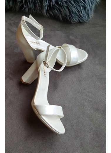 Topukla 350 Poli Arkası Kapalı Tek Bant Ayakkabı 1Cm Beyaz